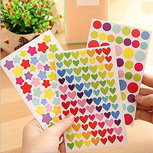 (Colorful Self-Adhesive Stickers,Star Stickers, Heart Stickers, Round Stickers,Easy Peel Stickers, Kid Stickers,Incentive Stickers,Great for Reward Charts&Marking School Work 1200PCS (multi-1200 Star))