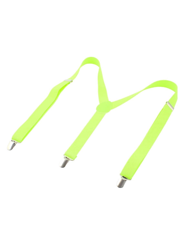 Y Shape Unisex Clip-on Elastic Braces Adjustable Suspenders Yellow