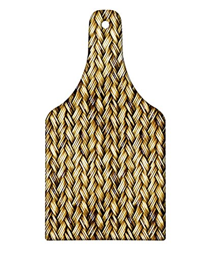 Lunarable Abstract Cutting Board, Rattan Basket Weave Pattern Natural Boho Country Style Geometric Monochrome Art Design, Decorative Tempered Glass Cutting and Serving Board, Wine Bottle Shape, ()