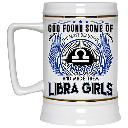 Gift For Libra Beer Mug, Libra Girls Beer Stein 22oz (Beer Mug-White)