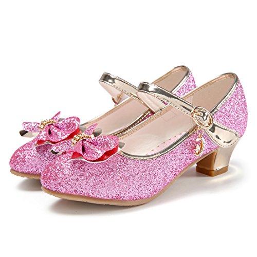 HBOS Kinder Mädchen Schuhe mit Absatz Prinzessin Schuhe Schmetterling Knoten Rosa 4
