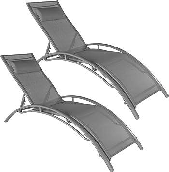 FQTLWR - Juego de 2 tumbonas para jardín, de aluminio, gris: Amazon.es: Hogar
