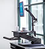 Mount-It! Sit-Stand Desk Converter and Height Adjustable Monitor Mount Combo Workstation, Height Adjustable, Ergonomic, Gas Spring Arm, Free Standing, Easy Installation, Black