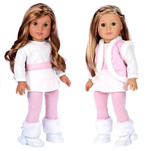 DreamWorld Collections - Snowflake - 4 Piece Outfit - Leggings, Tunic, Vest and Boots - Clothes Fits 18 Inch American Girl Doll (Doll Not Included)