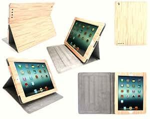 Ipad Emartbuy Nueva 3 Y Apple Ipad 2 Haya Efecto Madera Multifuncional / Multi Angle Folio / Portada / Soporte / Caso Mecanografía Con Sensor Magnético De Sueño Y Vigilia (Todas Las Versiones De Wi-Fi Y Wi-Fi 3G/4G + - 16 Gb 64 Gb 32 Gb)