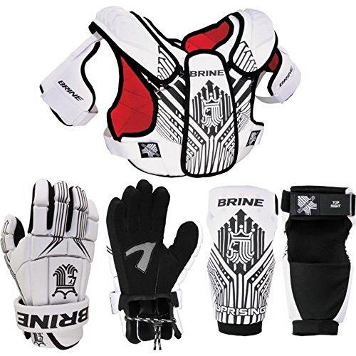 Brine Lacrosse Uprising Starter Set Shoulder Pad, Arm Pad, 10-Inch Glove (Small, White)