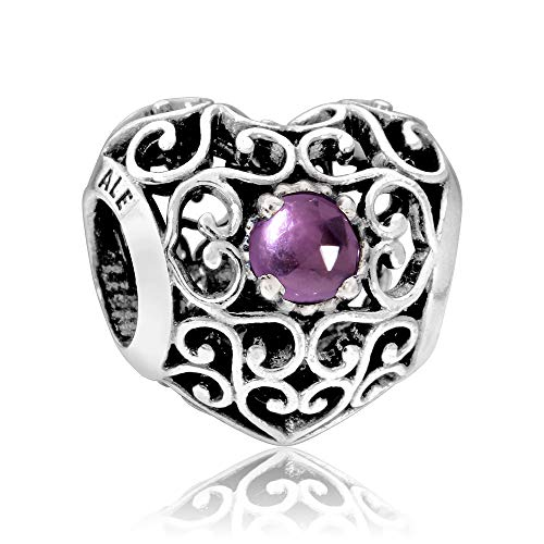 (Pandora February Signature Heart Charm With Synthetic Amethyst 791784SAM)