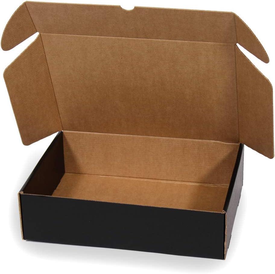 Kartox | Caja De Cartón Negra para Envío Postal | Caja Automontable ideal para Regalo | Caja de Cartón Resistente | Talla L | 30x22x8 | 20 Unidades