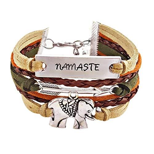 Hand Stamped Namaste Elephant Arrow Multi Strand Charm Bracelet