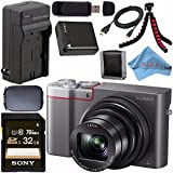 Panasonic Lumix DMC-ZS100 Digital Camera (Silver) DMCZS100S + DMW-BLG10 Lithium Ion Battery + External Rapid Charger + Sony 32GB SDHC Card + Small Case + Flexible Tripod Bundle