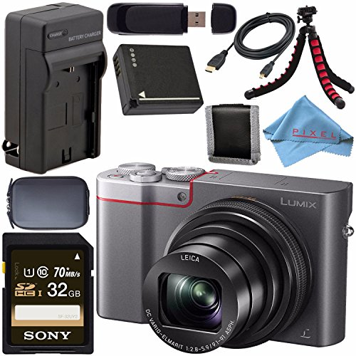 Cheap Panasonic Lumix DMC-ZS100 Digital Camera (Silver) DMCZS100S + DMW-BLG10 Lithium Ion Battery + External Rapid Charger + Sony 32GB SDHC Card + Small Case + Flexible Tripod Bundle