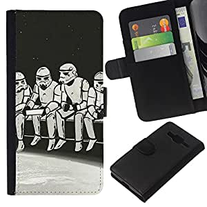 NEECELL GIFT forCITY // Billetera de cuero Caso Cubierta de protección Carcasa / Leather Wallet Case for Samsung Galaxy Core Prime // Strom Trooper Almuerzo - Iconic