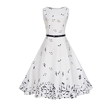 Danie & Holmy Womens Retro Music Notes Print Sleeveless Vintage Swing Dress