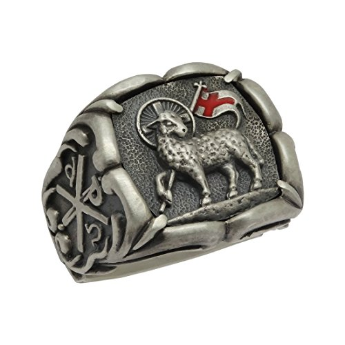 Handcrafted Lamb of God Sterling Silver 925 Knight Templar Men Chi Rho Ring Masonic by SECRETIUM