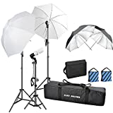 1500W 5500K Photography Photo Video Portrait Studio Day Light Umbrella Continuous Bulb Triple Lighting Kit