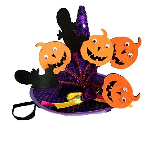 Bonaweite Animal Cat Pet Halloween Decoration Props Pumpkin Spider Hat Ribbon DIY Decoration Set Party Supplies ()