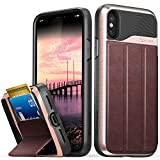 Vena iPhone X Wallet Case, [vCommute][Military Grade Drop Protection] Flip Leather Cover Card Slot Holder with Kickstand for Apple iPhone X / 10 (Rose Gold/Black)