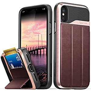 """iPhone X/XS Case, Vena vCommute Flip Leather Back, Drop Protection Card Slot Holder, Military Grade Kickstand Cover for Apple iPhone X/XS (5.8"""") (Rose Gold/Red/Black)"""