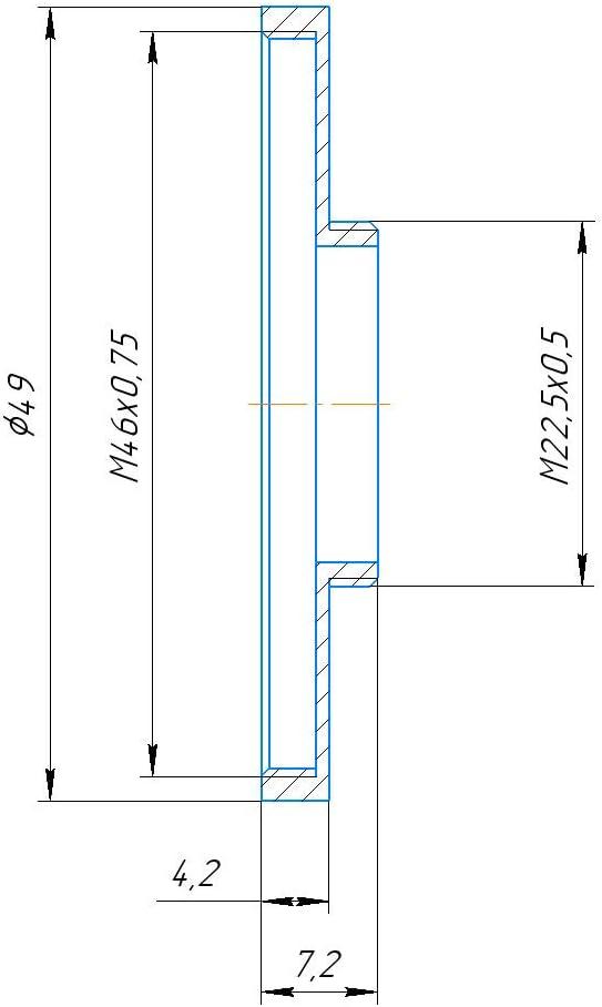 M22.5x0.5 Male to M46x0.75 Female Thread Adapter for Minitar-1 2.8//32mm Art Lens