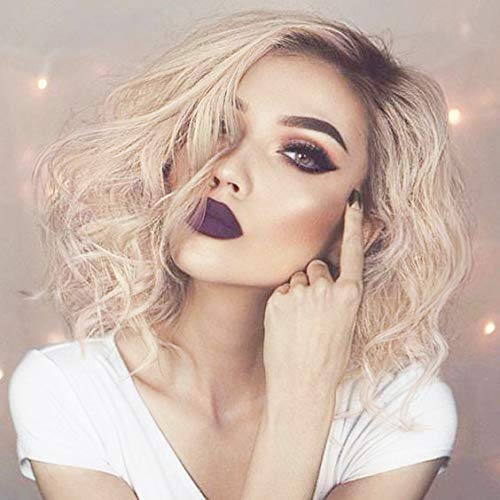 Pinkshow Bob Wave Lace Front Wigs Ombre Blonde Hair Dark Roots 2 Tone Color Short Wigs Glueless Cap Synthetic Hair Wig for Women,Drag Queen 14 Inch Middle Partline