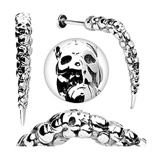 Surgical Steel Artistic Skull Carved Long Claw Labret - 14GA 3/8