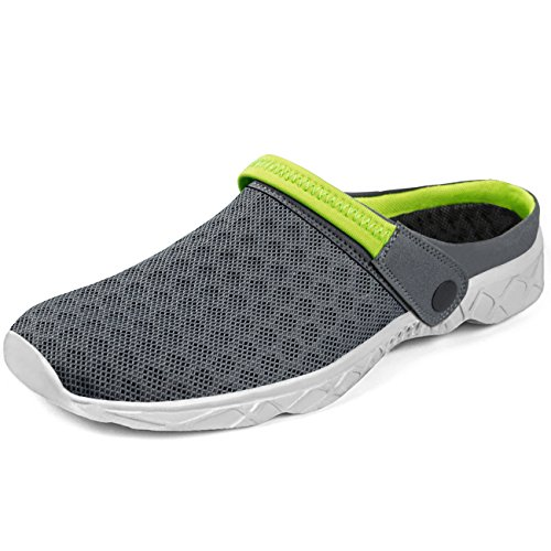 - Feetmat Men's Garden Clogs Mesh Lightweight Water Shoes Slip On Sandals Summer Aqua Slippers Grey/Green Size 9