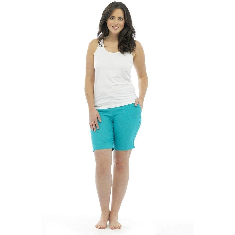 f7e5013d18b5f8 best Ladies Womens Linen Shorts Elasticated Waist Beach Holiday Hot ...