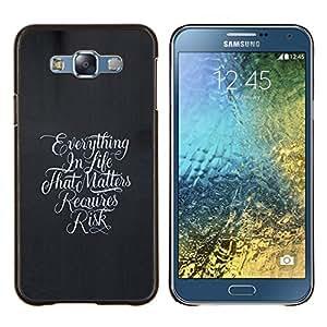 KLONGSHOP // Cubierta de piel con cierre a presión Shell trasero duro de goma Protección Caso - Todo en la vida - Samsung Galaxy E7 E700 //