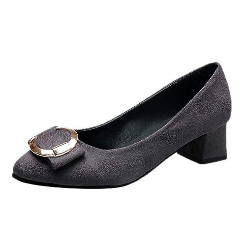 Zapatillas Moda Mocasines Mujer Metal para Moda para con Punta Estrecha Cuadrado Romano Zapatos Solos: Amazon.es: Zapatos y complementos