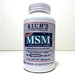 Rich\'s Pure MSM (Methylsulfonylmethane) 1000 mg 250 Tablets