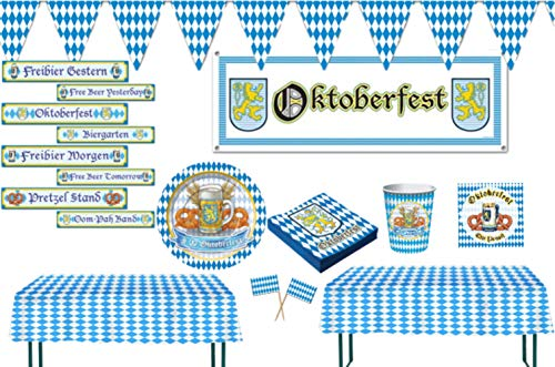 Oktoberfest Party Tableware and Decorations: Bundle Includes Paper Plates,Napkins and Cups for 16 Guests Plus Tablecovers, Banner, Flag Pennant Banner, Signs, and Party Picks