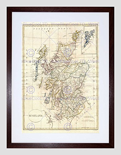 (Wee Blue Coo 1799 Clement CRUTTWELL MAP Scotland Vintage Black Framed Art Print B12X2139)