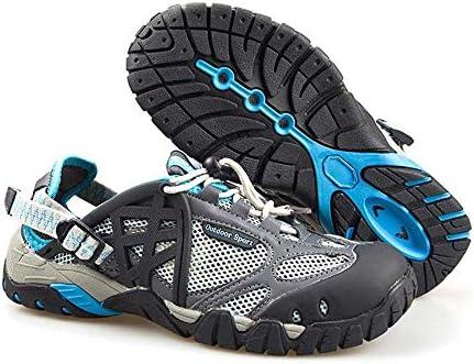 HYH 灰色と青の夏のアウトドアメッシュアップストリームシューズハイキングシューズローリング通気性ゴム滑り止めワタリ靴で男性と女性のための水陸両用速乾性の釣り靴を助けるために低いUS 5 US11 いい人生 (色 : Grey blue, Size : US11)