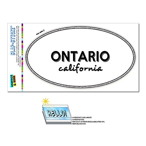Graphics and More Euro Oval Window Bumper Laminated Sticker California CA City State Mil - Pac - - Mils Ontario