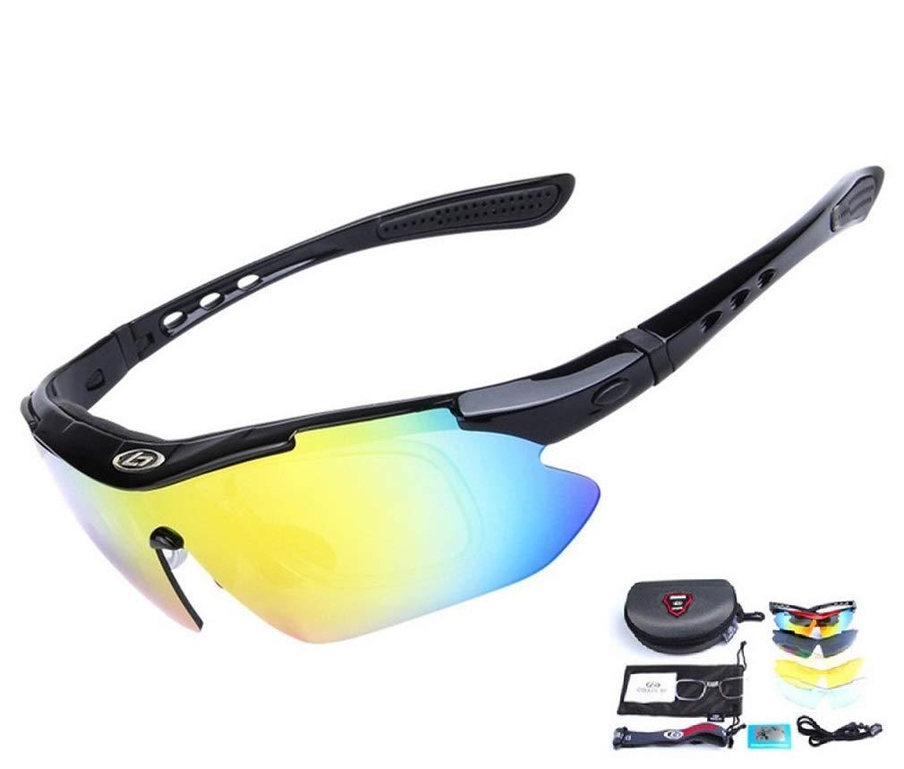 Runspeed 偏光スポーツサングラス UV400 交換可能なレンズ5枚付き メンズ レディース サイクリング ランニング ドライビング 釣り ゴルフ 野球用メガネ  ブラック B07N8SVWCJ