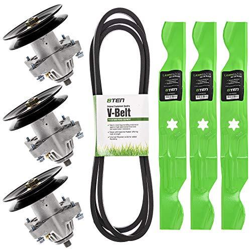 8TEN Spindle Belt Blade Kit for MTD Cub Cadet LT1050 i1050 LGT1050 SLT1550 Troy Bilt TB2450 50 Inch Deck from 8TEN