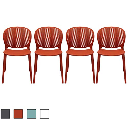 - 2xhome Set of 4 Dark Orange Contemporary Modern Stackable Assembled Plastic Chair Molded Back Armless Side Matte Dining Room Living Designer Outdoor Garden Patio Balcony Work Office Desk Kitchen