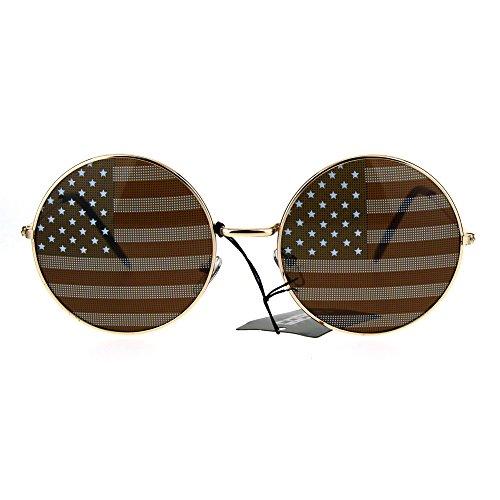 USA American Flag Print Round Circle Lens Retro Hippie Metal Rim Sunglasses - Circle Usa Lens