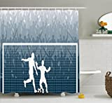 Ambesonne Sports Decor Shower Curtain Set, Illustration of A Cheering Crowd Silhouette Watching Penalty Kick in Soccer Match Print, Bathroom Accessories, 69W X 70L inches, Petrol Blue