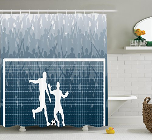 Ambesonne Sports Decor Shower Curtain Set, Illustration of A Cheering Crowd Silhouette Watching Penalty Kick in Soccer Match Print, Bathroom Accessories, 69W X 70L inches, Petrol Blue by Ambesonne