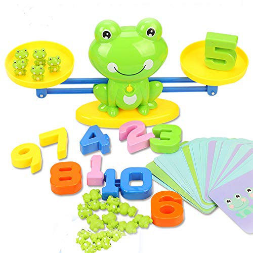 miYou STEM Math Toy Educational Balance Game and Counting Frog Set for School Kids Years 3 4 5 6 7