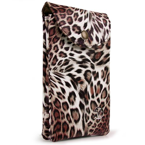 Leopard Faux Leather Bag Pouch for Huawei Valiant/Ascend Mate 2 4G/Ascend Mate/Ascend D2/ASCEND G510/Ascend G615/Ascend P6 Smartphone (Brown)