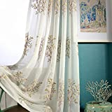 Embroidered Window Sheer Curtains for Living Room White Flower Country Rustic Transparent Tulle Voile Curtain Romantic Cafe Bedroom Dining Room Chiffon Gauze Curtain Grommet 52 x 63 inch