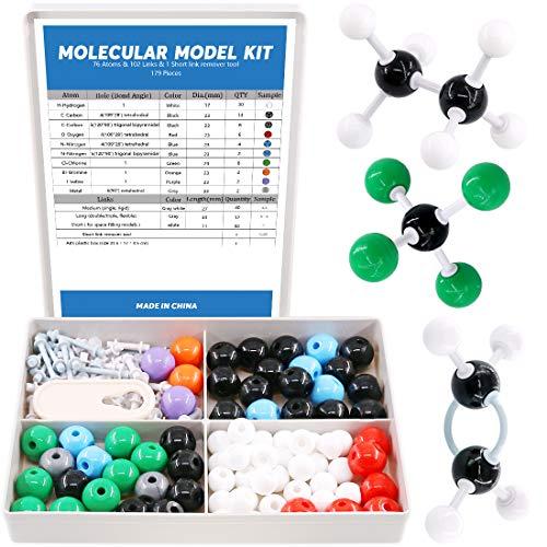 Swpeet 179 Pcs Organic Chemistry Molecular Model Student and Teacher Kit, Chemistry Molecular Model Student and Teacher Set - 76 Atoms & 102 Links & 1 Short Link Remover Tool