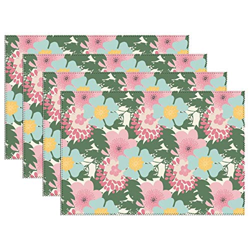 Cowboy Nap Mat - DKISEE Stain Resistant Placemats, Pink Florals Anti-Skid Washable Polyester Table Mats Non Slip Washable Placemats, 12