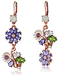 Betsey Johnson Spring Fling Faceted Bead Flower Mismatch Drop Earrings