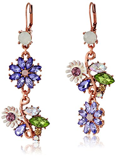 (Betsey Johnson Spring Fling Faceted Bead Flower Mismatch Drop Earrings)