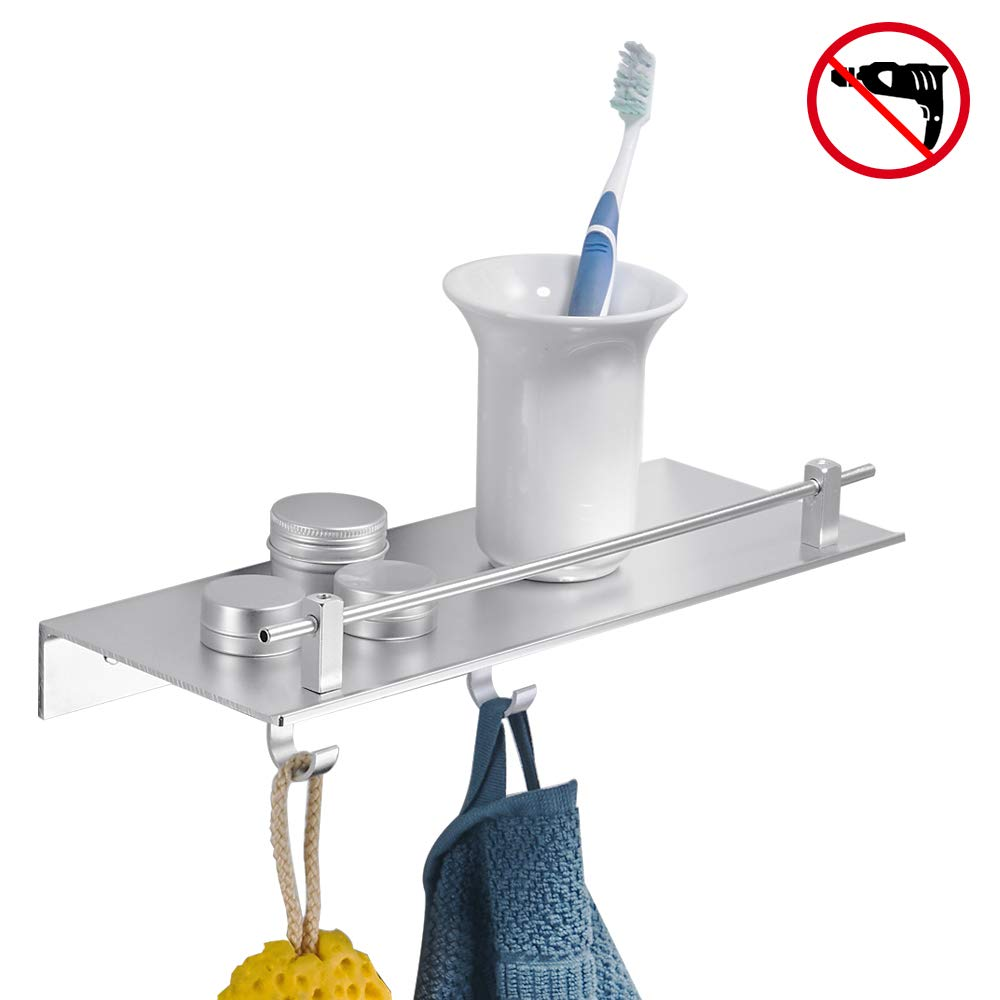 BESy Adhesive Bathroom Shelf Rectangular Shower Shelf with Two Hooks, Drill Free with Glue or Wall Mount with Screws,Heavy Duty Aluminum Multifunction Storage Coat Hanger, Dull Polished Silver