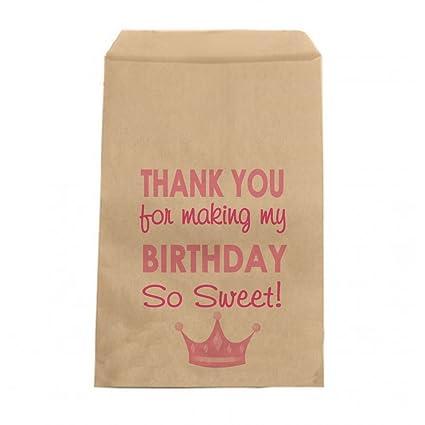 Amazon.com: Rosa Princesa cumpleaños bolsas de Candy – Las ...