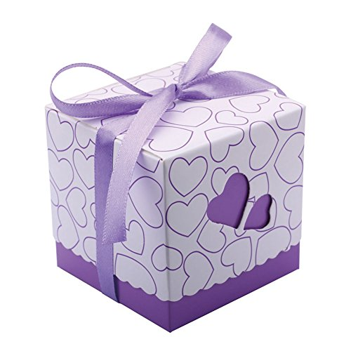 DriewWedding Set of 50 Wedding Bridal Favor Gift Candy Boxes Case, Hollow Heart Shape Wrap Boxs Bag with Ribbon Party Table Decor Kit Treat Box Chocolate Candy Wrappers Holders (Purple/ 2